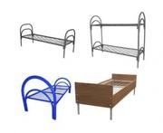 Одноярусные металлические кровати с ДСП спинками для гостиниц,  больниц