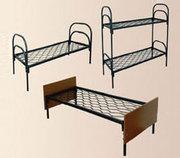 Двухъярусные металлические кровати с ДСП спинками для гостиниц.